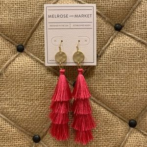 NORDSTROM Gold/Hot Pink Tassel Earrings NWT